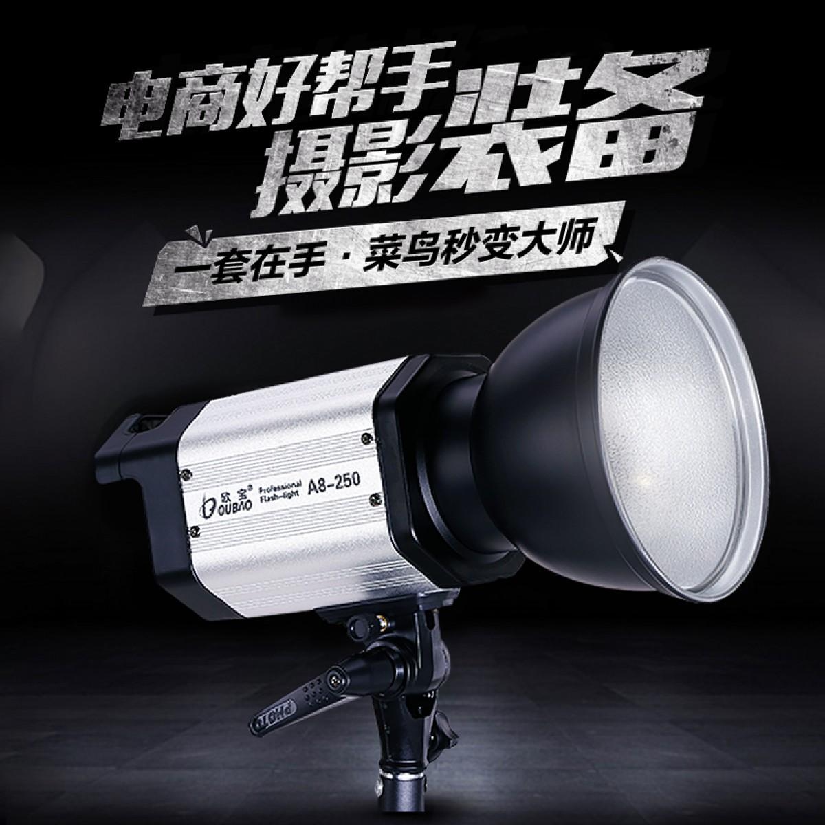 欧宝A8 250W闪光灯摄影灯静物室内人像补光摄影棚影室灯专业拍摄