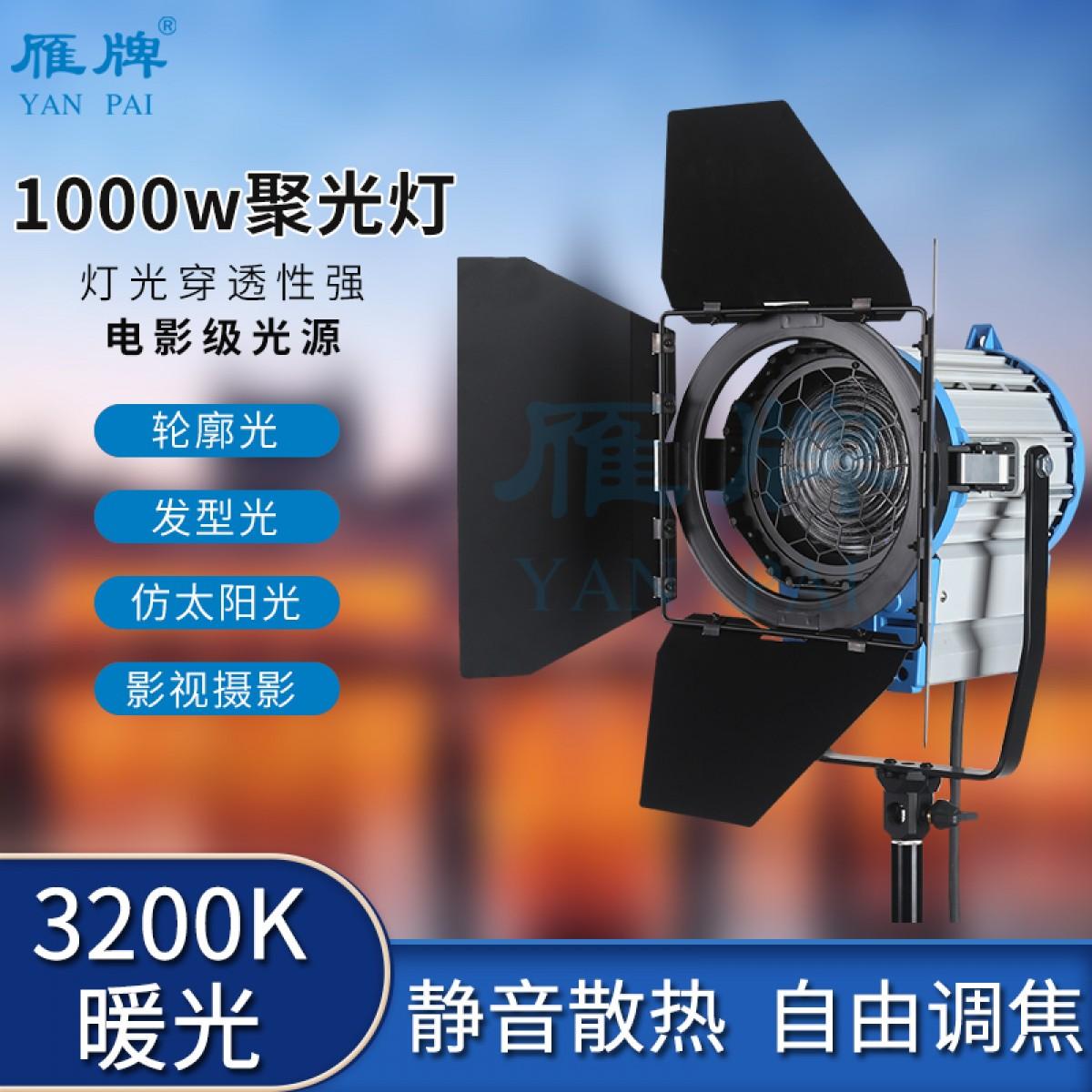 雁牌1000W摄影灯聚光灯影视电影灯视频灯美发店拍照补光灯逆光灯