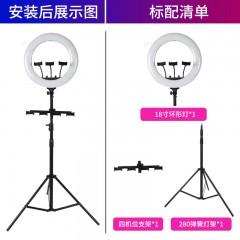 雁牌LED18寸多机位直播补光摄影灯45cm大光圈主播专用美颜环形灯