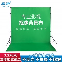 雁牌网红直播3.2X6m加厚绿色抠像布幕布照相摄影棚拍照摄影背景布