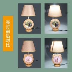 雁牌简约现代儿童房小台灯卧室床头灯家用卡通创意双面实木相框
