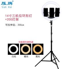 雁牌LED14寸三机位直播补光摄影灯56cm大光圈主播专用美颜环形灯